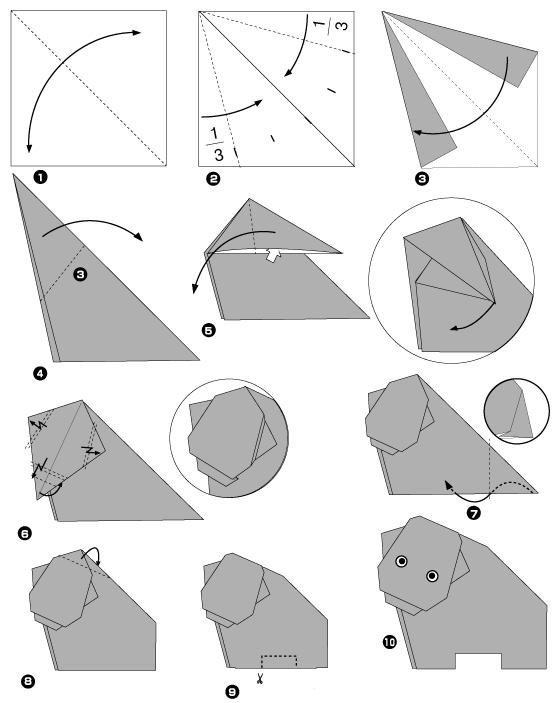 Бегемот оригами