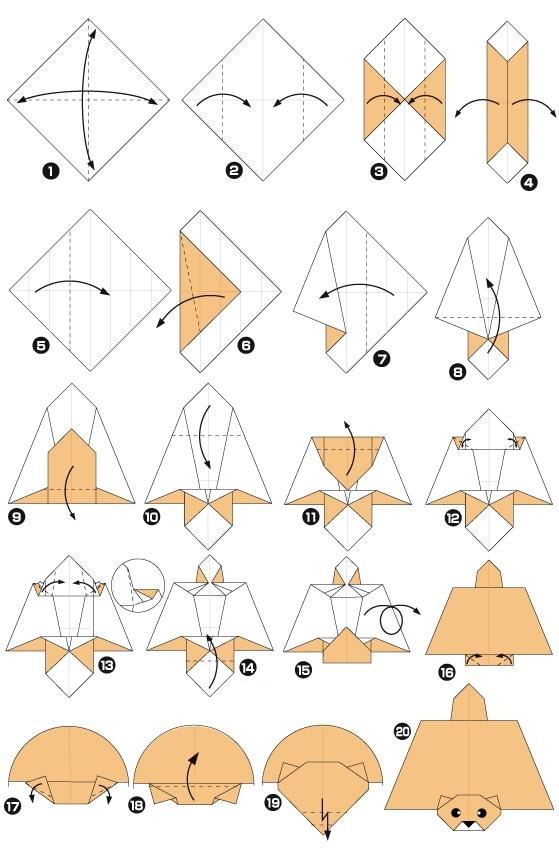 белка-летяга оригами
