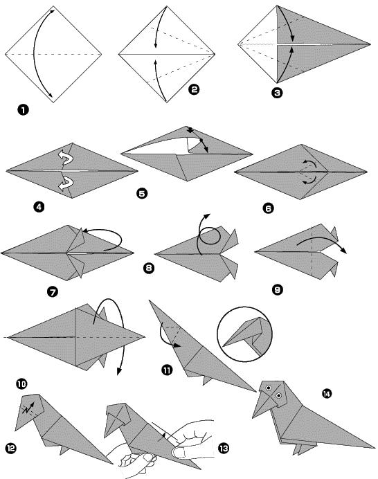 Схема оригами ворона: Схема