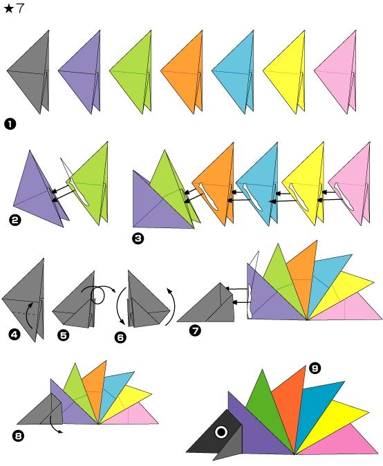 Схема ежик оригами