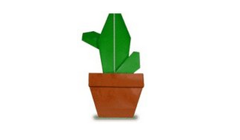 Схема сборки оригами-кактус