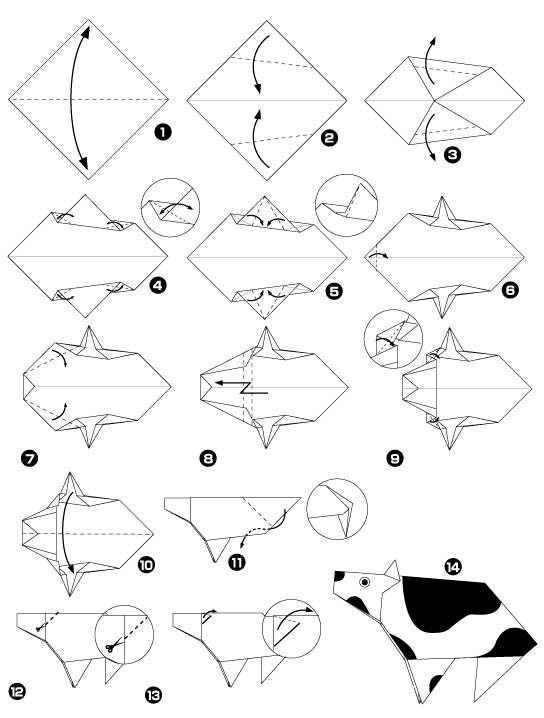 Inflatable origami pig diagram