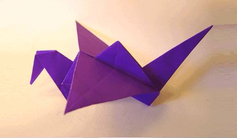 машущая крыльями птица оригами