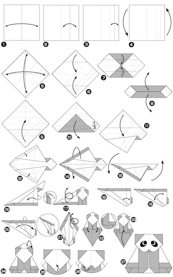 панда оригами схема