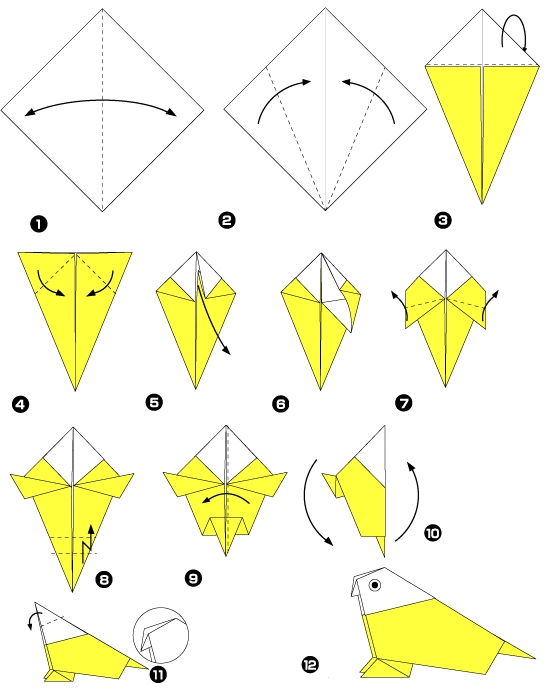 Как сделать из бумаги попугая лёгкое