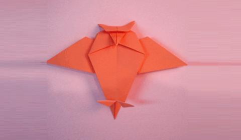 Оригами сова может выглядит и