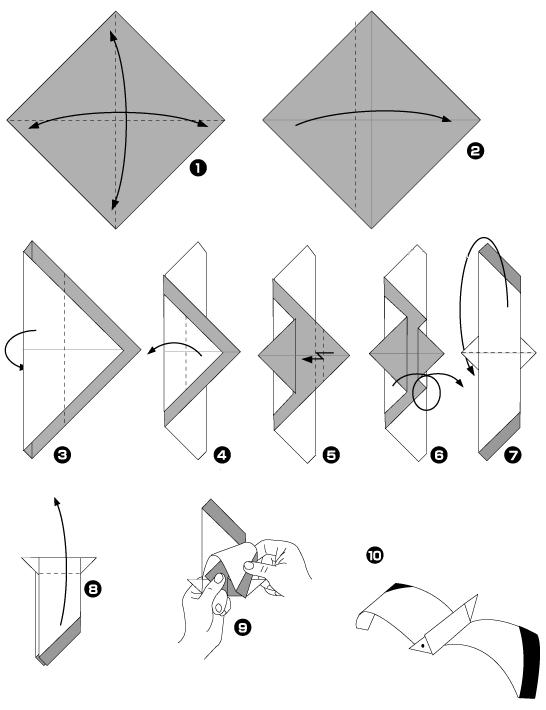 чайка оригами схема