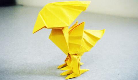 Жёлтая птица оригами