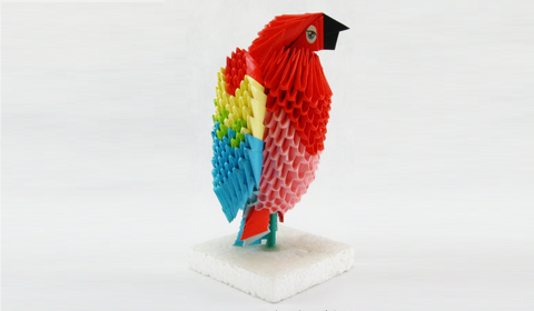 Попугай модульное оригами