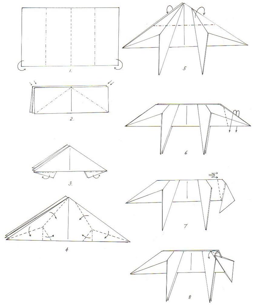 Схема волка из оригами