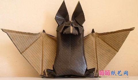 Летучая мышь оригами. Схема: