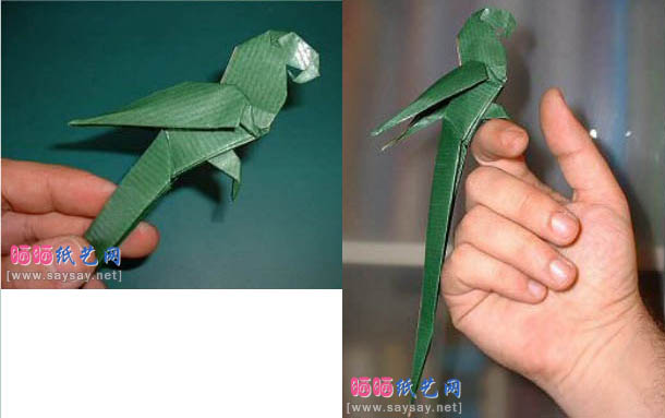 Схема попугая оригами