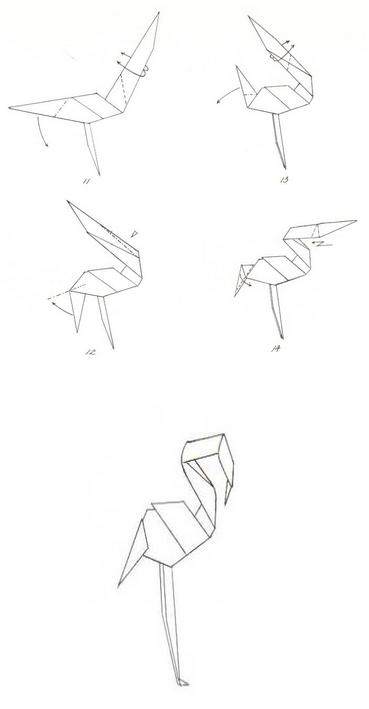фламинго оригами 2