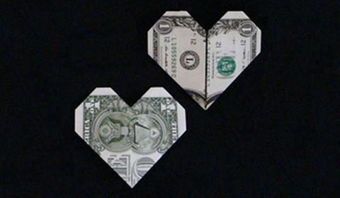 Как сделать сердце из денег