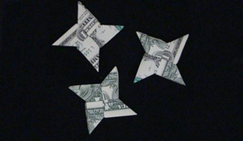 Оригами из денег сюрикен