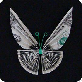 бабочка из денег 14