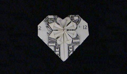 денежное сердце оригами