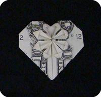 денежное сердце оригами 30