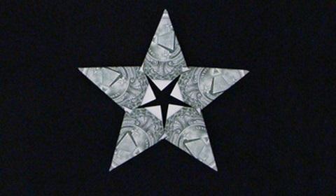 звезда оригами из денег