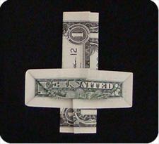крест из денег 25