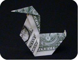 оригами из денег утка 11