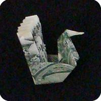 павлин из денег оригами 14