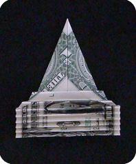 павлин из денег оригами 7