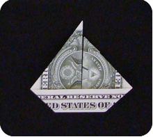 парусник из денег оригами 20