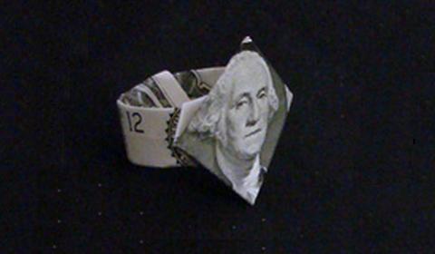 как сделать перстень из купюры оригами