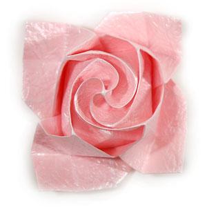 объёмная роза из бумаги 66