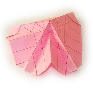 объёмная роза оригами 12