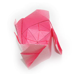 объёмная роза оригами 32