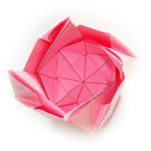 объёмная роза оригами 49