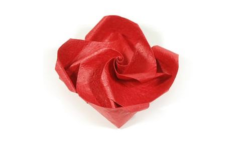 простая роза из бумаги 64