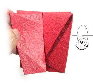 простая роза оригами из бумаги 11