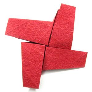 простая роза оригами из бумаги 17