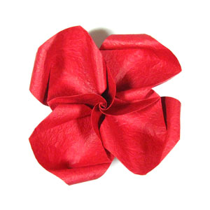 простая роза оригами из бумаги 35