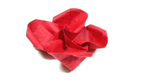 простая роза оригами из бумаги 36