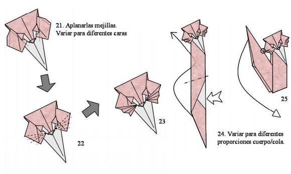 Схемы сборки котика из оригами